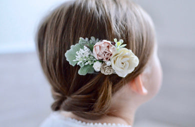 Blush + ivory flower clip