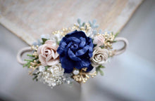 Load image into Gallery viewer, Navy + blush + gold floral headband