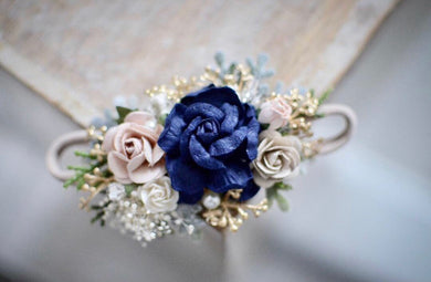 Navy + blush + gold floral headband