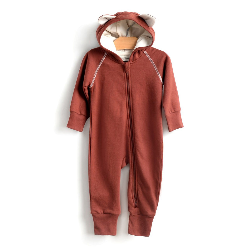 Fox hooded romper - rust