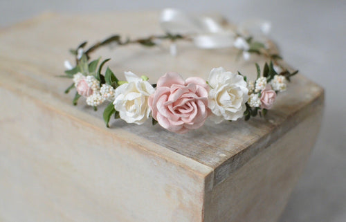 Blush + ivory flower crown