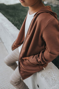 Fleece zip hoodie - earth