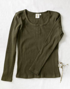 Ladies Willow cotton waffle top - olive