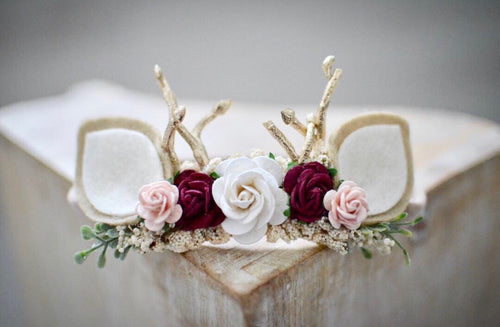 Baby fawn ears winter woodland headband