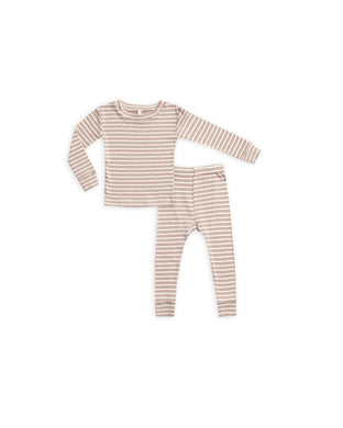 Ribbed pajama set - truffle stripe
