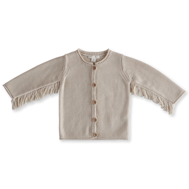 Baby bird fringe cardigan - clay
