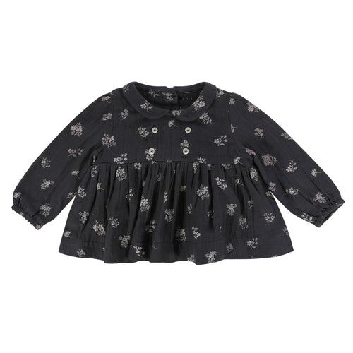 Clemente top - charcoal floral muslin
