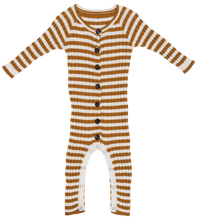 Load image into Gallery viewer, Ribbed stripe jumpsuit - harvest gold/snow