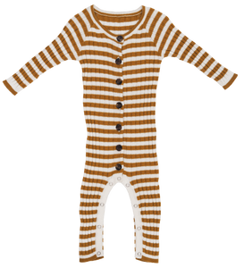 Ribbed stripe jumpsuit - harvest gold/snow
