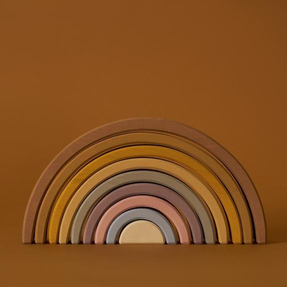 Large wooden arch stacker in desert rainbow