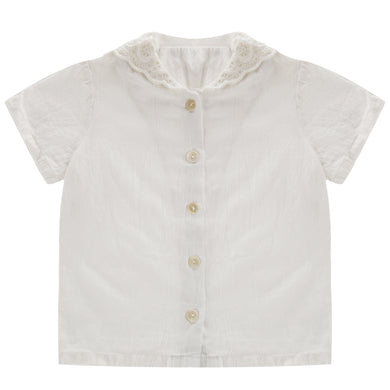 Ethel blouse - white lace collar