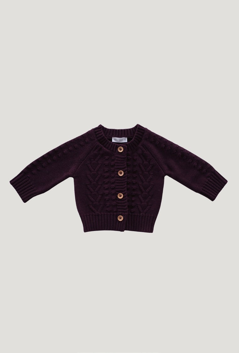 Jamie Kay Cable Cardigan - mulberry