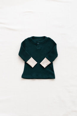 Fin & Vince waffle henley - forest