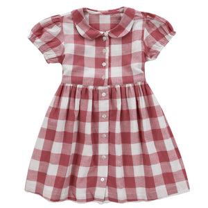 Audrey dress - textured gingham in mulberry