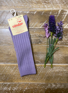 Lavender ribbed cotton knee sock