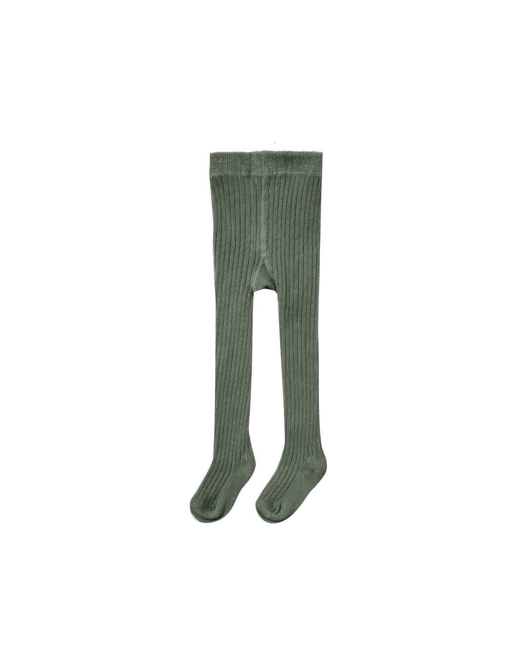 Solid ribbed tights - forest