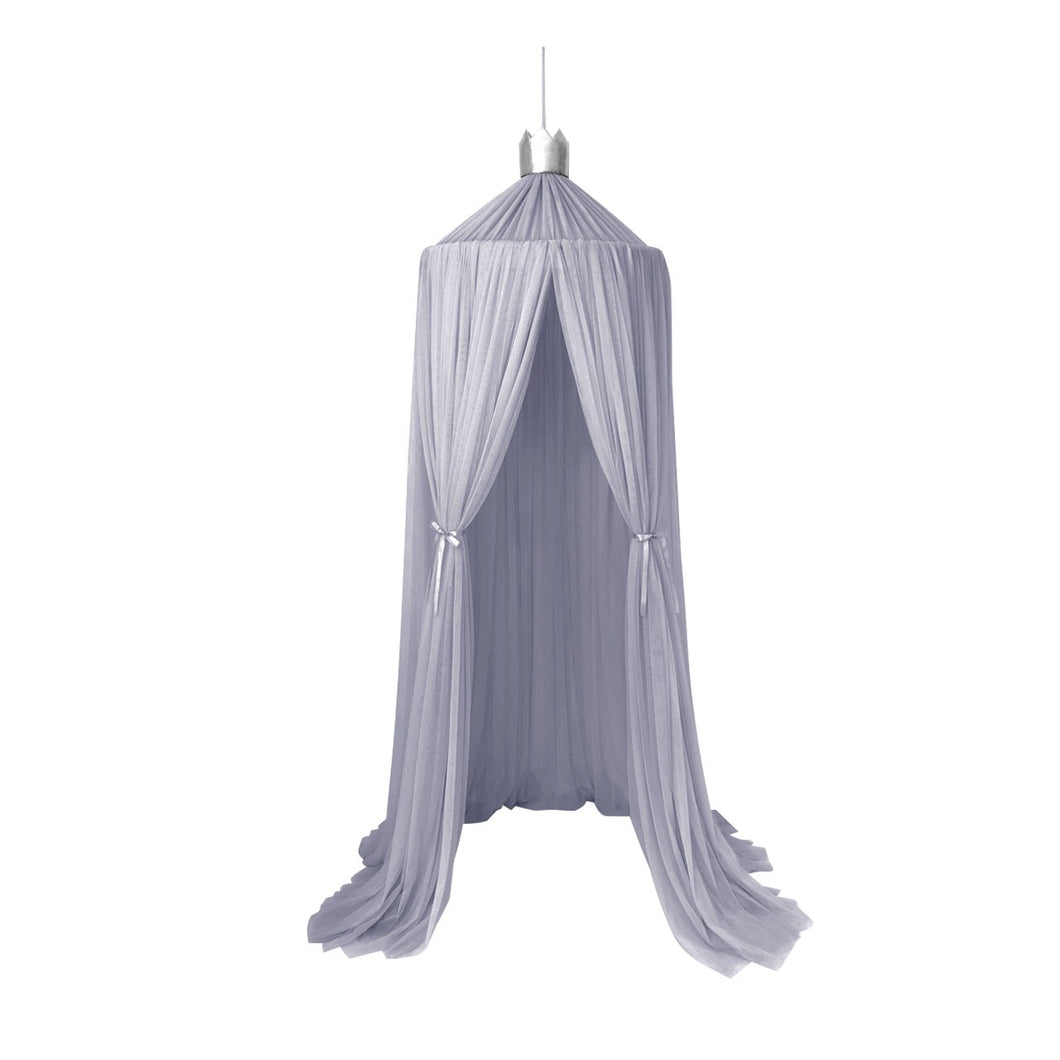 Dreamy canopy in light grey with silver crown