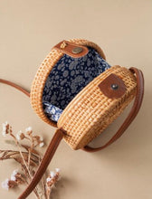 Load image into Gallery viewer, Adult size rattan bag - blue floral lining