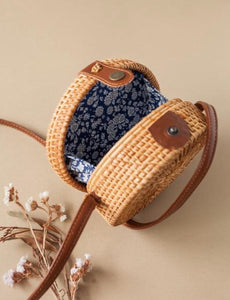 Adult size rattan bag - blue floral lining