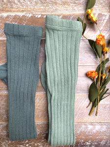 Sage ribbed tights
