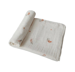 Muslin swaddle blanket - flowers