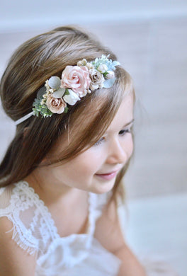 Blush + ivory flower crown headband