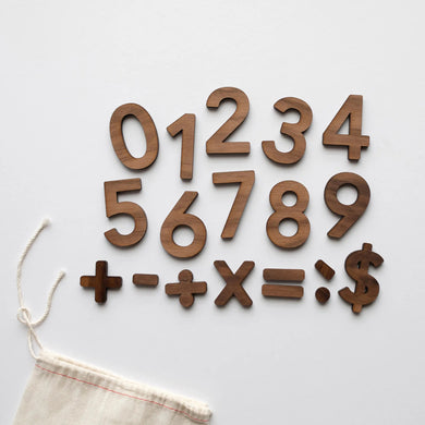 Wooden Number Set • Numerals & Math Equation Signs, Walnut