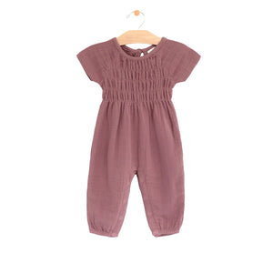 Muslin synched long sleeve romper - rosewood