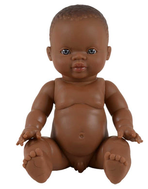 Boy doll, African - blue eyes
