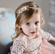 Load image into Gallery viewer, Blush + gold floral headband