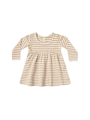 Quincy Mae baby dress - honey stripe
