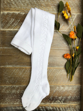 White side crochet tights
