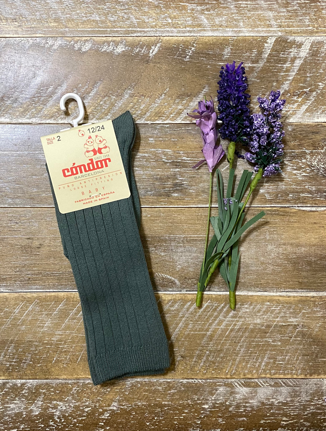 Lichen ribbed cotton knee sock