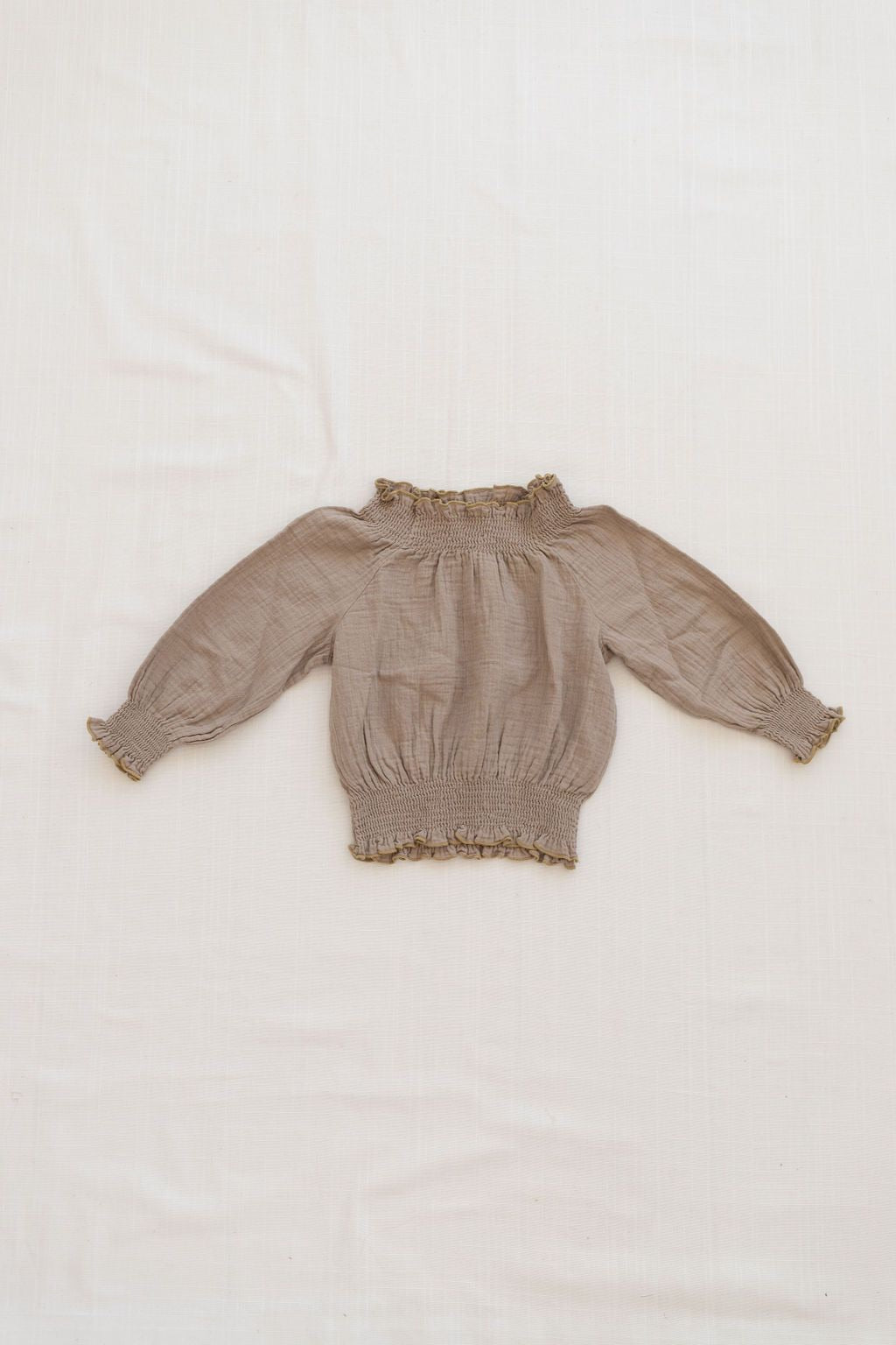 Fin & Vince smocked blouse - almond