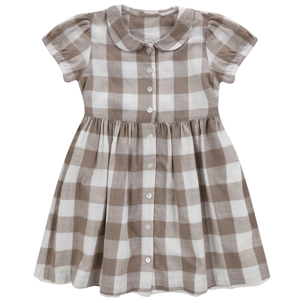 Audrey dress - textured gingham in cinder