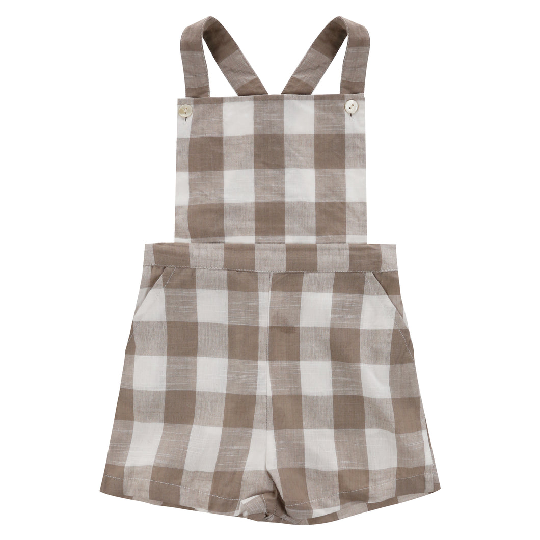 Cromer short dungarees - textured gingham in cinder