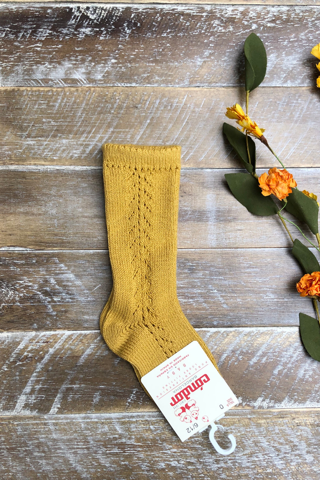 Mustard side crochet knee high socks