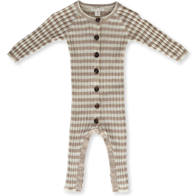 Ribbed stripe speckled jumpsuit - fawn