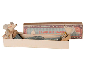 Grandma and grandpa mouse in matchbox