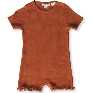 Ribbed romper - rust