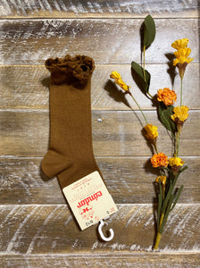 Toffee knee sock with lace trim