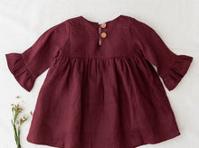 Load image into Gallery viewer, Indi bell sleeve linen dress - plum