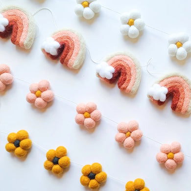 Soft and sweet rainbow garland
