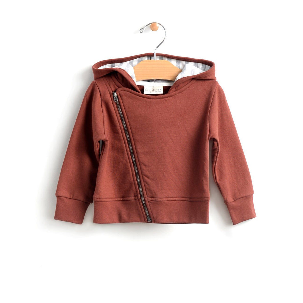 Hooded moto jacket - rust