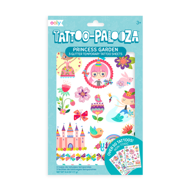 Temporary glitter tattoos - princess garden