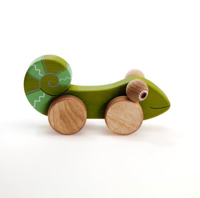 Wooden chameleon push toy