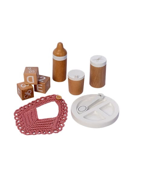 Wooden doll feeding and care set, 9 piece