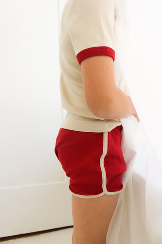 Fin & Vince track shorts - oat/toadstool
