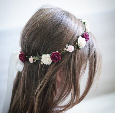 Burgundy + ivory flower crown