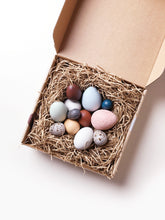 Load image into Gallery viewer, A dozen bird eggs in a box